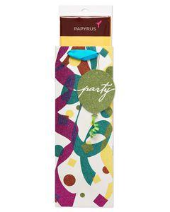 Glitter Celebration Beverage Gift Bag with Tissue Paper Bundle; 1 Gift Bag and 8 Sheets of Tissue Paper