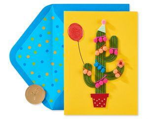 Pom Pom Cactus Birthday Greeting Card