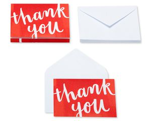Red and White Thank You Blank Note Cards and White Envelopes, 20-Count