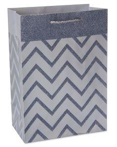 Small Silver Chevron Stripes with Glitter Gift Bag