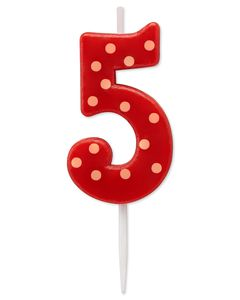 Red Polka Dots Number 5 Birthday Candle, 1-Count