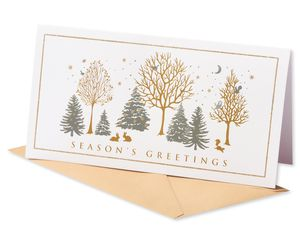 Silver and Gold Forest Christmas Boxed Cards, 8 Count