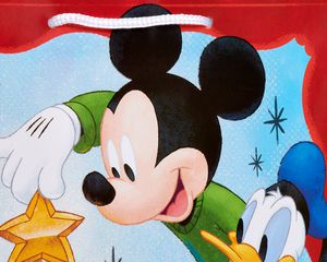 Medium Mickey Mouse and Friends with Glitter Christmas Gift Bag