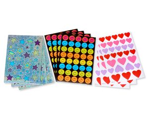 Hearts, Stars and Smiles Stickers, 340 Count