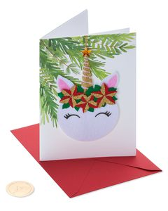 Floral Unicorn Christmas Greeting Card