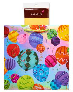 Fun Patterned Birthday Balloon Large Gift Bag with Buttercup Tissue Paper, 1 Gift Bag and 8 Sheets of Tissue Paper