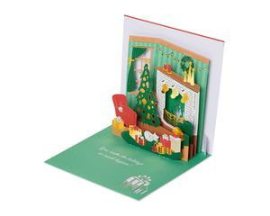 Fireplace and Stockings Pop-Up Christmas Greeting Card