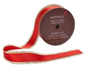 Holiday Red Ribbon with Gold Fringe