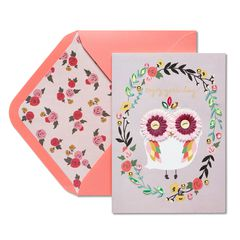 Femme Owl Birthday Greeting Card