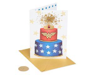 Wonder Woman Cake Birthday Greeting Card