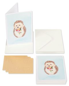 Hedgehog with Flower Boxed Blank Note Cards with Envelopes, 14-Count