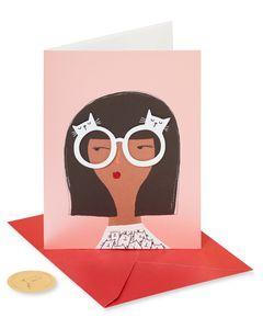 Cat Glasses Blank Greeting Card