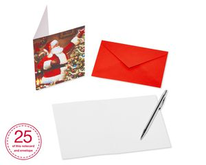 Santa and Christmas Tree Blank Note Cards and Red Envelopes, 25-Count