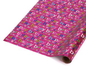 Birthday Wrapping Paper, Colorful 'Happy Birthday' on Bright Pink