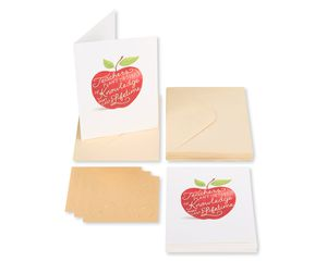 Apple for Teacher Blank Note Cards with Envelopes, 14-Count