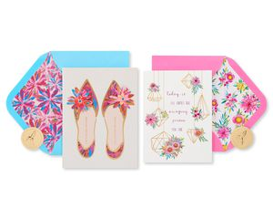 Shoes and Terrarium Birthday Greeting Card Bundle for Her, 2-Count