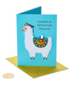 Dip-llama Graduation Greeting Card