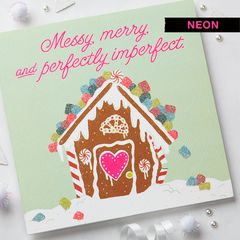Romantic Gingerbread House Christmas Greeting Card
