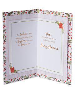 Poinsettia Wreath Christmas Card for Mom