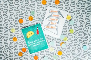 Taco and Hot Sauce Anniversary Card Lifestyle Image