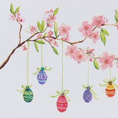 Eggs Hanging From Branches Easter Greeting Card