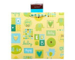 Baby Icons Jumbo Gift Bag with Turquoise Tissue Paper, 1 Gift Bag and 8 Sheets of Tissue Paper