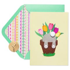 Bunny in Pot Easter Greeting Card