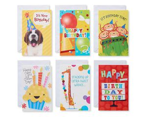 Assorted Bright Birthday Cards and Envelopes, 12-Count