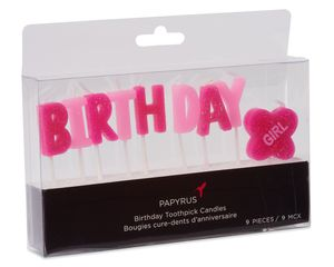 Girl Birthday Toothpick Candles, 9-Count