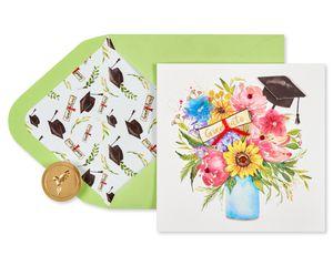 Floral Cap Graduation Greeting Card