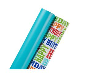 Birthday Wrapping Paper, Aqua and 'Happy Birthday' Lettering, 2-Roll