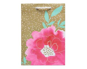 small watercolor flower on gold gift bag