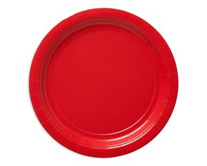 bright red dinner round paper plate 20 ct