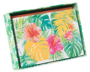 Tropical Flowers Boxed Blank Note Cards with Envelopes, 12-Count