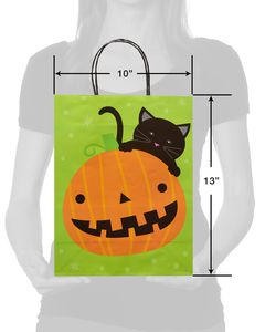 Medium Pumpkin and Cat Halloween Gift Bag