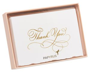 Gold Script Boxed Thank You Cards and Envelopes, 8-Count