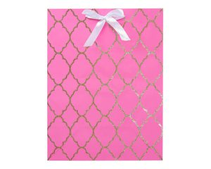 medium pink and gold glitter trellis gift bag