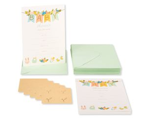 Baby Banner Blank Note Cards with Envelopes, 20-Count