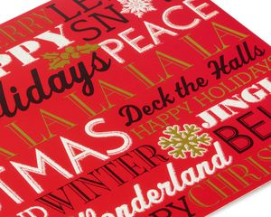 Deluxe Christmas Words Boxed Cards and Red Envelopes, 14-Count