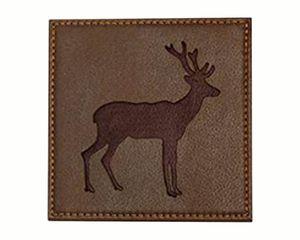 Mud Pie Standing Deer Faux Leather Coaster Set