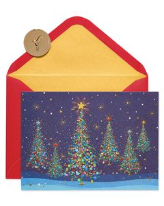 Magical Row of Christmas Trees Holiday Boxed Cards, 14-Count