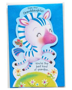 Zebra Father's Day Card for Grandpa from Granddaughter
