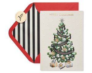 Metallic Christmas Tree and Gifts Holiday Boxed Cards, 12-Count
