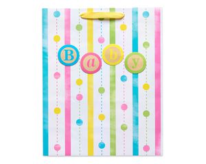 large baby stripes and dots gift bag