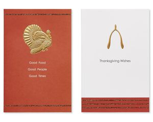 Turkey and Wishbone Thanksgiving Cards, 6-Count