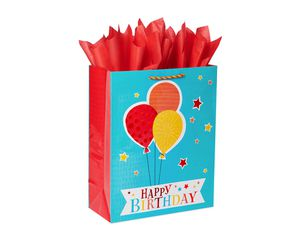 Extra-Large Birthday Balloons Gift Bag with Tissue Paper; 1 Gift Bag and 6 Sheets of Tissue Paper