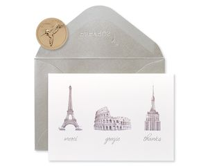 World Icons Thank You Boxed Blank Note Cards, 14-Count