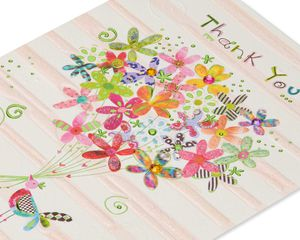 Birdie With Flowers Thank You Greeting Card
