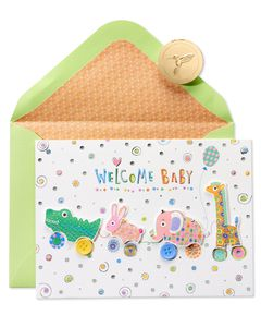 Critter Pull Along New Baby Greeting Card
