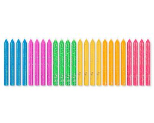 Neon Glitter Birthday Candles, 24-Count